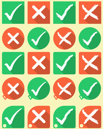 Tick and cross buttons and symbols flat style Vector