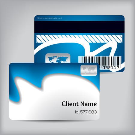 loyalty: Blue wave loyalty card design on gray background