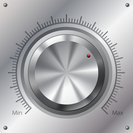 knobs: Volume knob with min max levels on steel plate
