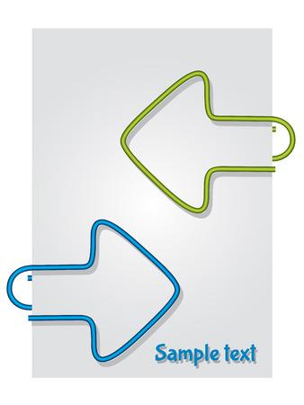 color paper: Flecha en forma de clips de papel de color sobre papel