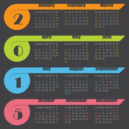 2015 calendar design with colorful ribbons on dark background