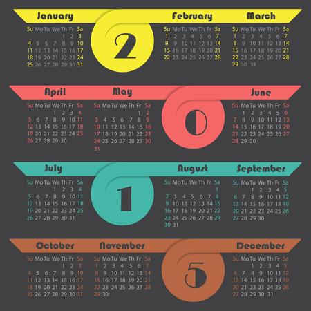 Colorful ribbon 2015 calendar design on dark background