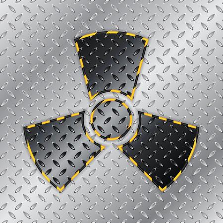 hazzard: Radioactive warning sign on metallic plate background Illustration