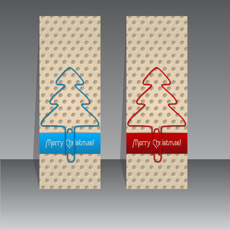 Blue and red christmas label design with paperclip trees Vector