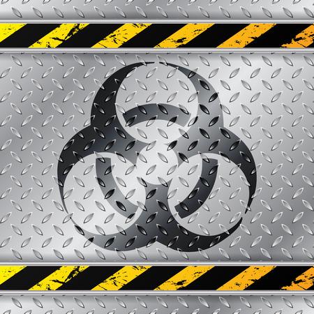 hazzard: Bio hazzard warning sign on metallic plate with triped warning sign Illustration