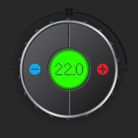 lcd display: Air condition gauge with bright green lcd display Illustration