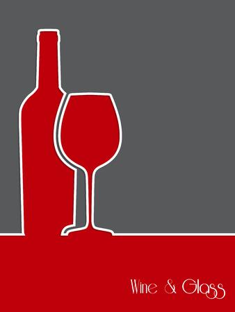 병 및 유리 실루엣과 와인 배경 디자인