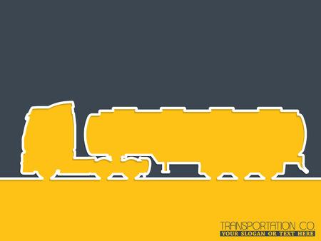 18 wheeler: Truck advertising background design with tanker truck silhouette