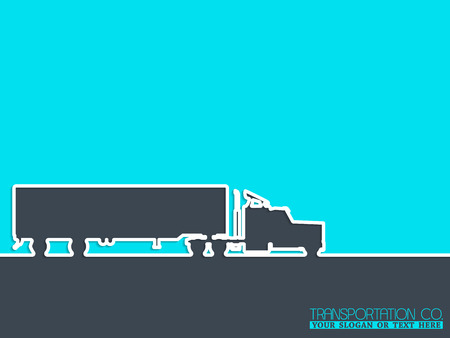 conventional: Transportation advertising background design with conventional truck silhouette