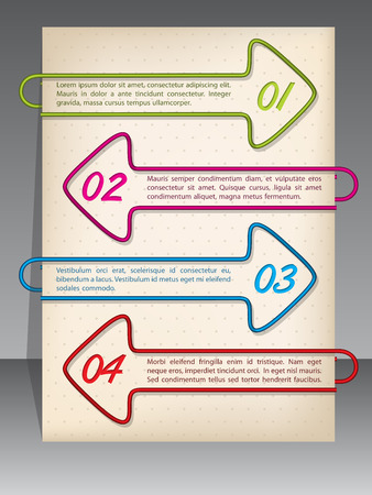 binding: Arrow shaped binding clip infographic design with options