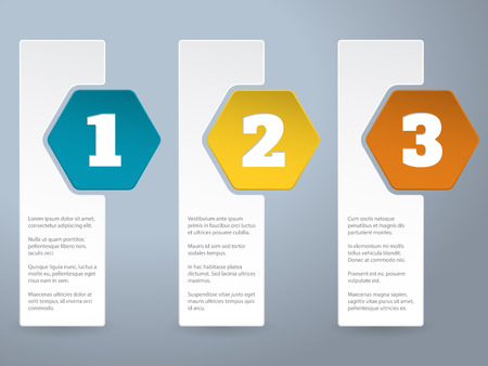 hexa: White label infograhic background design with big color hexagons and numbers
