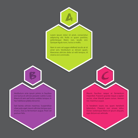hexa: Simple infograhic bacground with color hexagon shapes Illustration