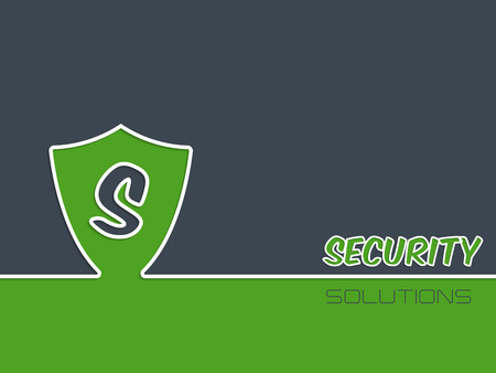 security company: Security advertising background with shield silhouette