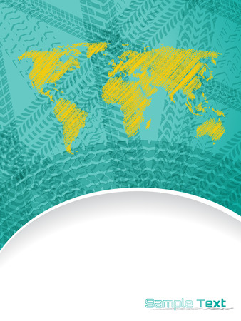 Abstract brochure design with world map and various tire tracks Vector