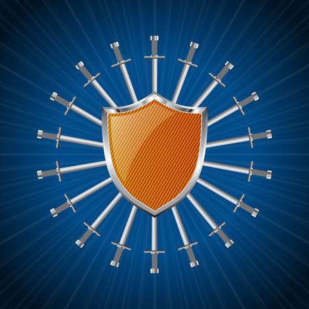 war decoration: Orange striped shield with ring of swords background design Illustration