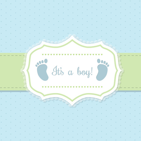boy feet: Baby shower invitation design in blue and green with footprints