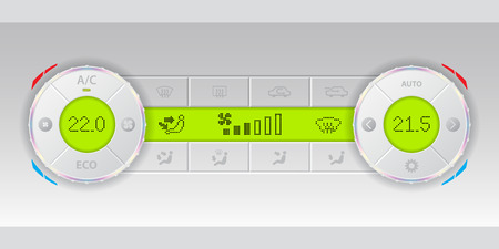 recirculate: Digital air condition white dashboard design with dual ac and green lcd