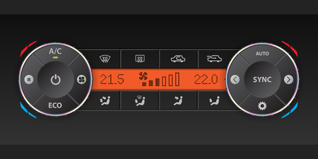 recirculate: Digital air condition dashboard design with dual ac and orange lcd Illustration