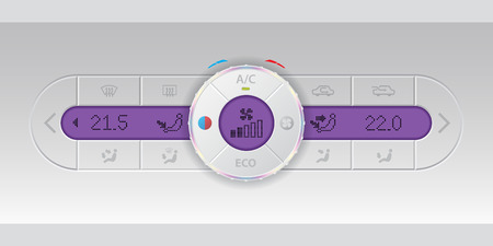 recirculate: Digital air condition white dashboard design with dual ac and purple lcd