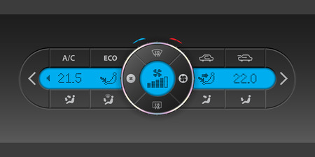 recirculate: Digital air condition dashboard design with lots of options and blue lcd Illustration
