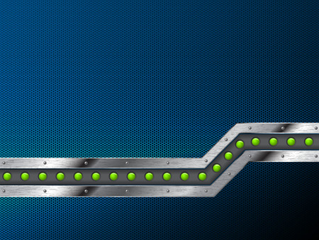 leds: Abstract technology background design with grunge metallic bar and green leds Illustration