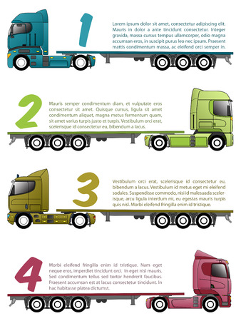 18 wheeler: Truck infographics design with various choices and numbers