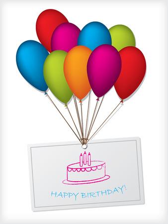 cartoon birthday cake: Birthday card greeting design with color balloons Illustration