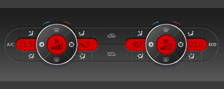 recirculate: Digital dual air condition dashboard design with red lcd