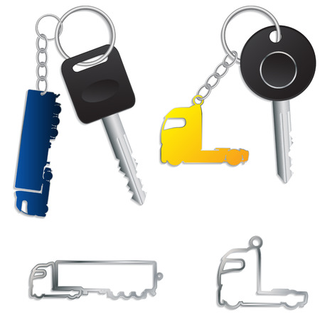 keyholder: Semi truck key holders with keys and chains Illustration
