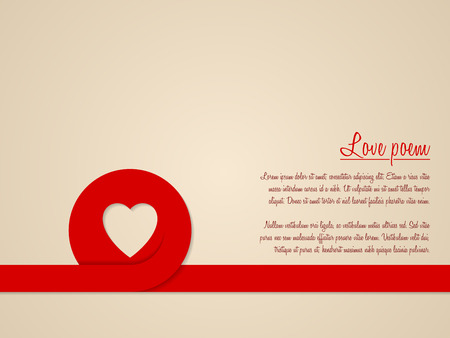 poem: Valentines day greeting card with red heart ribbon and love poem