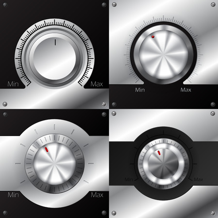 knob: Volume knob designs with black and metallic elements
