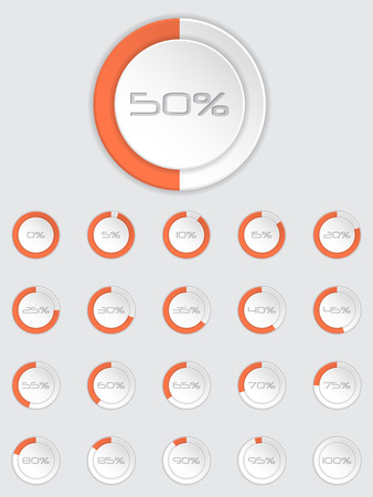 progress bar: Cool 3d loader icon set with different state and percentage