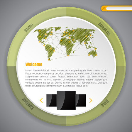 Cool circle webpage template design ideal for blogs Illustration