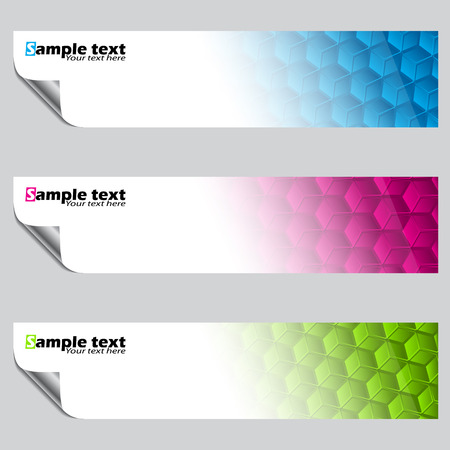 peeled: Banner set with color hexagon pattern and peeled corners Illustration