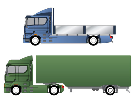 18 wheeler: Double cab trucks with single axles and various chassis Illustration