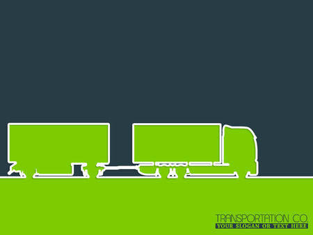 wheeler: Transportation company advertising background design with truck silhouette Illustration