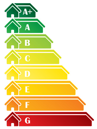 classification: Energy class label design with house icons Illustration