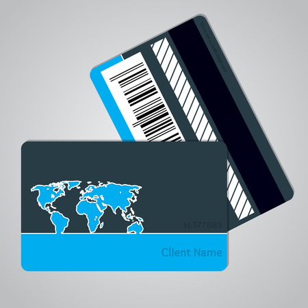 credit card payment: Loyalty card design with outlined map and bicolor background Illustration