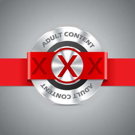adults sex: Adult content badge with triple xxx and red ribbon