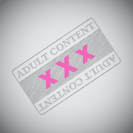 sex symbol: Grunge adult content stamp design with pink XXX text