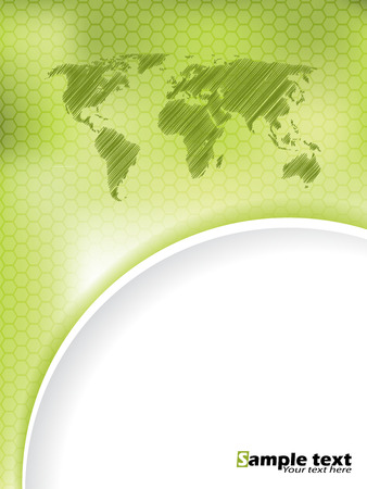white wave: Green hexagon brochure design with scribbled map and green white wave Illustration