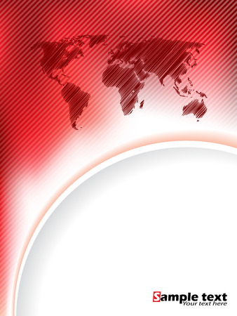 white wave: Striped red brochure design with scribbled map and red white wave