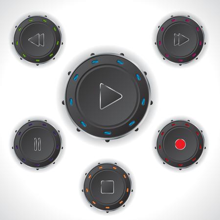 push button: Cool audio controller push button design set