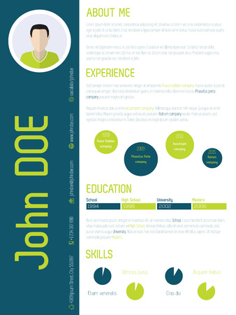 cool colors: Modern resume cv curriculum vitae design with cool colors