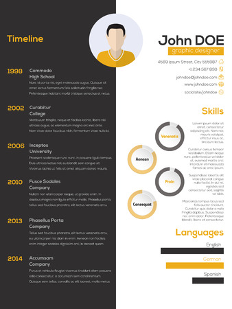 curriculum: Contrast resume cv curriculum vitae design in black white and orange Illustration
