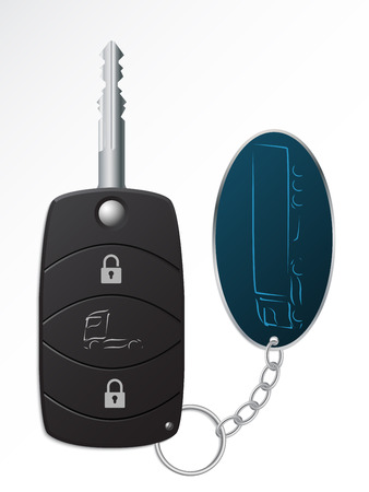 Truck ignition remote key with truck symbol keyholder Illustration