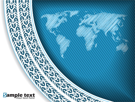 tire cover: Abstract tire track background design with scribbled world map