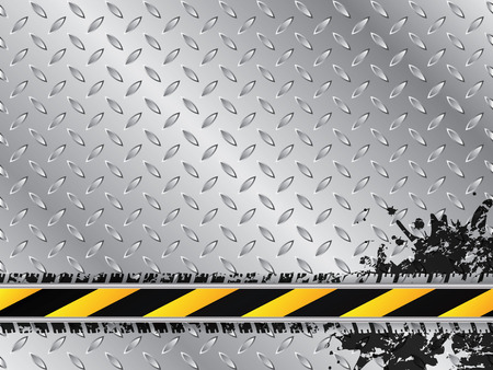 treads: Industrial background with tire treads and striped barrier