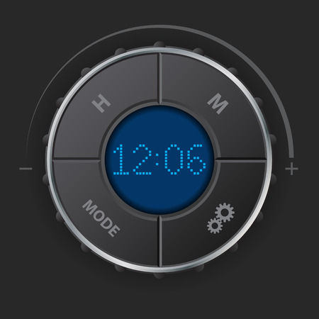 car dashboard: Digital clock with blue lcd and setting buttons for car dashboard