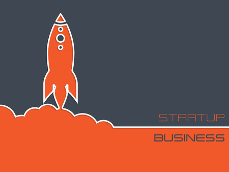 simplistic: Simplistic startup business background design with rocket symbol